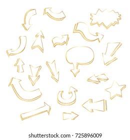 Gold arrow set. Hand drawn illustration.