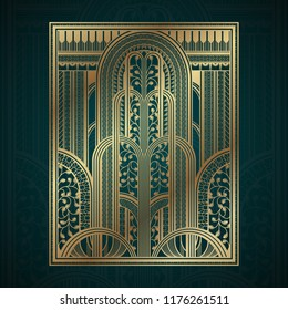 Gold art deco panels with fountain on dark turquoise background
