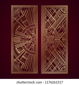 Gold art deco panels on dark red background