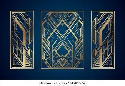 Gold art deco panels on dark blue background