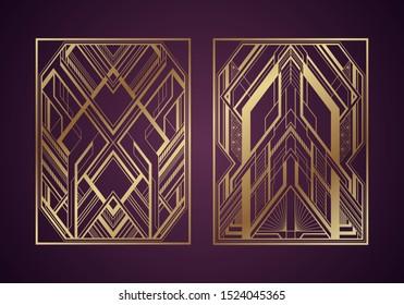 Gold art deco panels on dark purple background