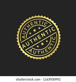 Gold authentic stamp icon vector