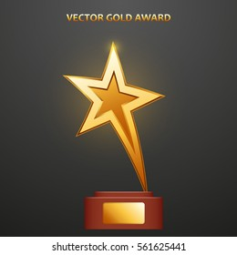 Gold Award in the form of star on stand, vector illustration