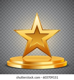 Gold Award in the form of star on podium, vector illustration
