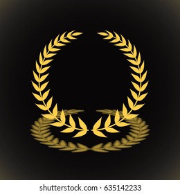 Gold award laurel wreath with shadow on black background.
