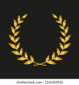 Gold award laurel wreath. Symbol victory, triumph and success illustration