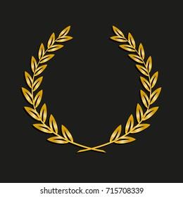 Gold award laurel wreath. Symbol victory, triumph and success illustration