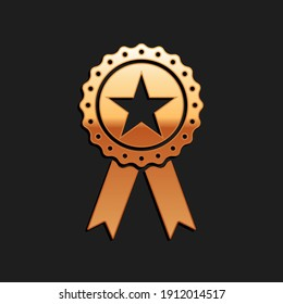 Gold Award medal with star and ribbon icon isolated on black background. Winner achievement sign. Champion medal emblem. Success symbol. Long shadow style. Vector.