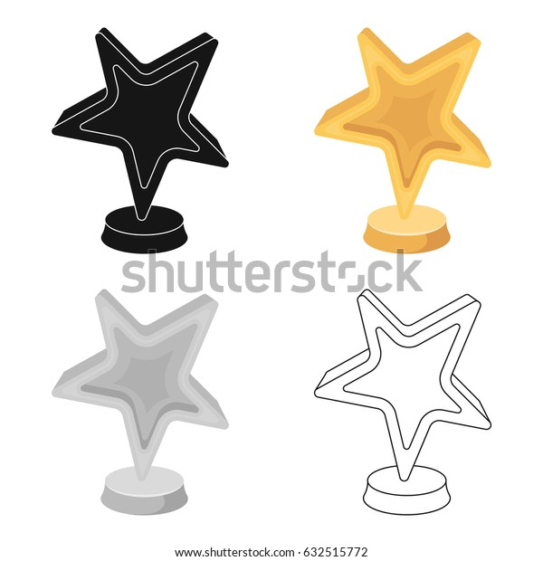 Gold award in the shape of a star.The prize for best role in an action film.Movie awards single icon in cartoon style vector symbol stock illustration.