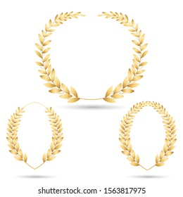 Gold award wreath. Golden branches with leaves. Vintage laurel symbol for champion honor. Highest Crown Award