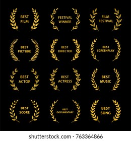 Gold award wreaths on black background. Film Awards. Vector illustration.