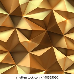 Gold background. Abstract triangle gold texture. Low poly gold pattern illustration.