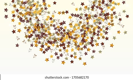 Gold Background with Confetti of Glitter Star Particles. Sparkle Lights Texture. Anniversary pattern. Light Spots. Star Dust. Christmass Design. Explosion of Confetti. Design for Print.