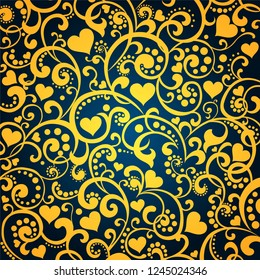 Gold background with heart. Valentine's day ornament gold and dark blue. Romantic tiled pattern for wrapping paper and wallpaper design. Winter holidays. Vector illustration