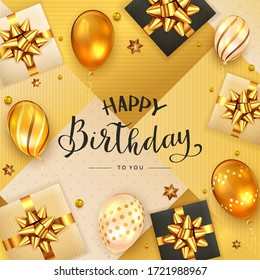 Gold background with lettering Happy Birthday, holiday balloons, realistic gifts with golden bows and confetti. Illustration can be used for holiday design, poster, card, website, banner
