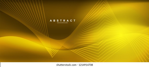 Gold background with smooth shape. Beautiful waving line in blue color. Horizontal banner template. Abstract futuristic template. Technology wallpaper with vibrant color.
