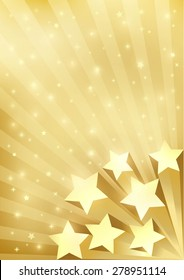 Gold Background With Stars. Holiday gold vector background in retro style. Template for greeting cards, invitations, gift, posters and banners. A 4 template.