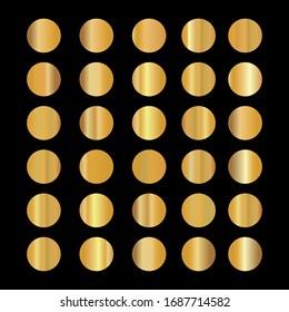 Gold background texture vector icon pattern. Shiny golden metal foil gradient set