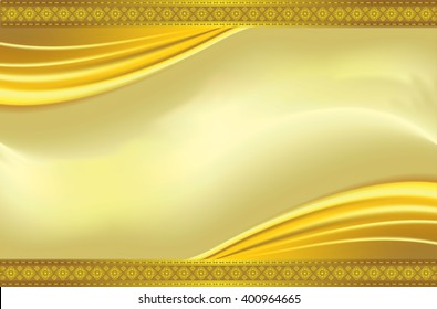 gold background with wave and line thai, Vector luxury vintage background. Perfect as invitation or announcement.