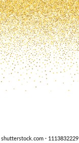Gold Background. Yellow, Golden and Gold Stars on White Background. Vector Colorful Stars Confetti Isolated on White Background. Stars Confetti Fall From Top To Bottom. Postcard Vertical Design.