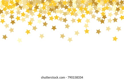 Gold Background. Yellow, Golden and Gold Stars on White Background. Vector Colorful Stars Confetti Isolated on White Background. Stars Confetti Fall From Top To Bottom. Postcard Horizontal Design.