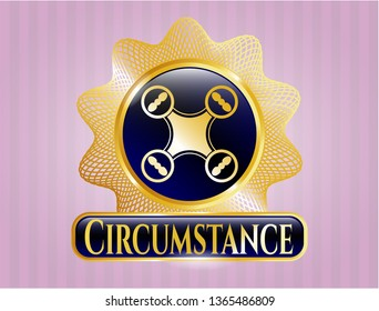 Gold badge with air drone icon and Circumstance text inside