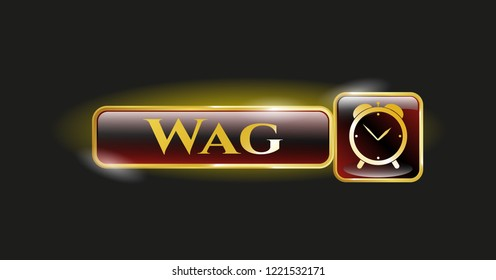 Gold badge with alarm clock icon and Wag text inside