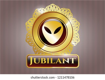 Gold badge with alien icon and Jubilant text inside