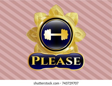 Gold badge with big dumbbell icon and Please text inside