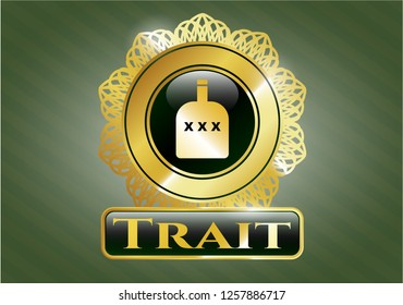 Gold badge with bottle of alcohol icon and Trait text inside