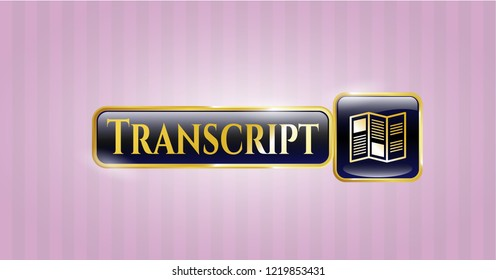 Gold badge with brochure icon and Transcript text inside