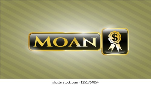 Gold badge with business ribbon icon and Moan text inside