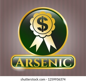 Gold badge with business ribbon icon and Arsenic text inside