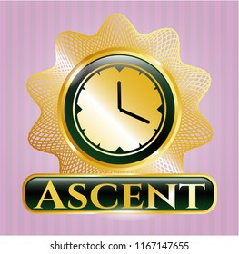 Gold badge with clock, time icon and Ascent text inside