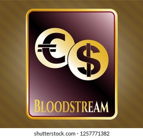 Gold badge with currency exchange icon and Bloodstream text inside