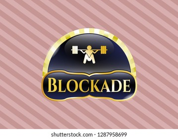 Gold badge with deep squat icon and Blockade text inside