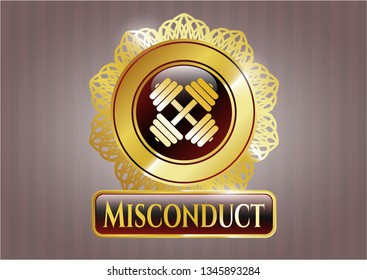 Gold badge with dumbbell icon and Misconduct text inside
