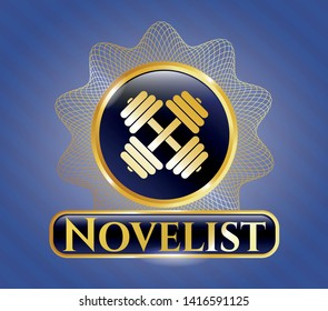 Gold badge with dumbbell icon and Novelist text inside