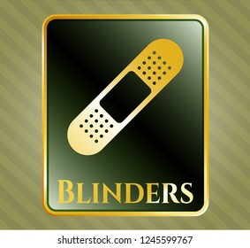 Gold badge or emblem with bandage plaster icon and Blinders text inside