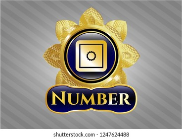 Gold badge or emblem with bank safe icon and Number text inside