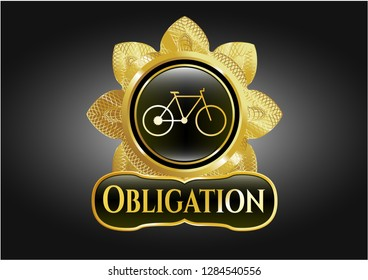 Gold badge or emblem with bike icon and Obligation text inside