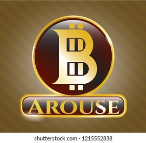 Gold badge or emblem with bitcoin icon and Arouse text inside
