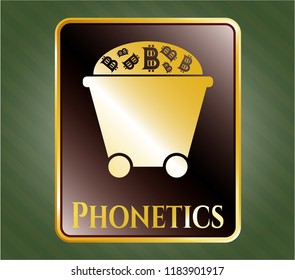 Gold badge or emblem with Bitcoin mining trolley icon and Phonetics text inside