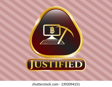 Gold badge or emblem with bitcoin mining icon and Justified text inside
