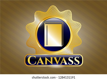Gold badge or emblem with book icon and Canvass text inside
