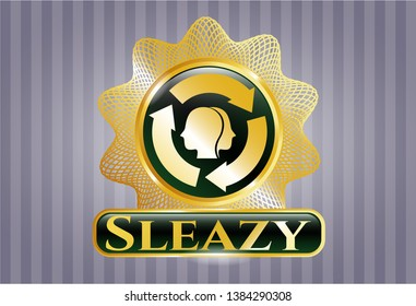 Gold badge or emblem with brain storm icon and Sleazy text inside