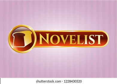 Gold badge or emblem with bread icon and Novelist text inside