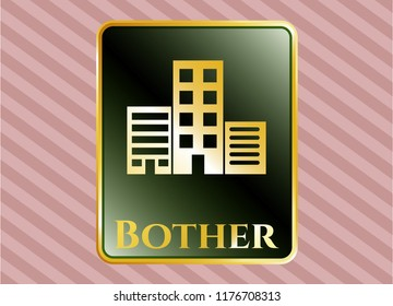 Gold badge or emblem with buildings icon and Bother text inside