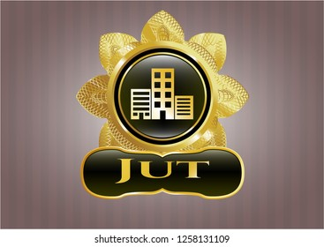Gold badge or emblem with buildings icon and Jut text inside