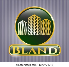 Gold badge or emblem with buildings icon and Bland text inside